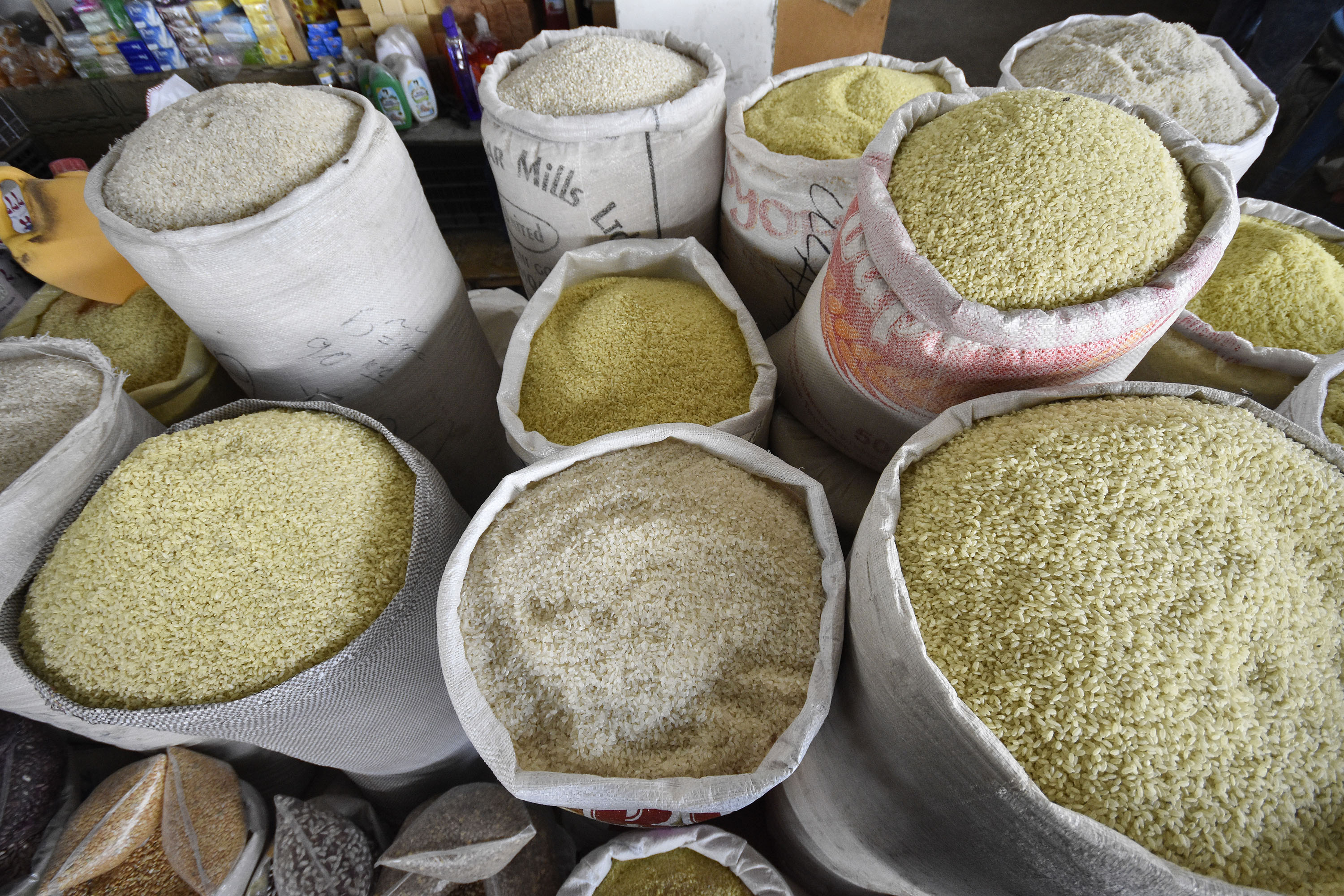 16 August 2016, Hissar, Tajikistan - Rice is displayed for a sale at an indoor market.FAO project GCP/TAJ/013/EC: Strengthening Institutions and Capacity of the Ministry of Agriculture and State Veterinary Inspection Service for Policy Formulation. Objectives: Enhance the capacities of the Government to implement the Agrarian Reform and support the development of the agriculture and rural sector with specific focus on the formulation and implementation of inclusive and effective agriculture and food security policy processes. Improve platforms and institutions supportive to private public parnership in sector of provision of veterinary services.