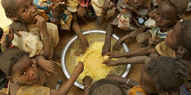 Children eating their school lunch